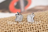 apple jewelry box - Sterling Silver Apple Earrings White Cubic Zirconia Jewelry GNE0428 Cheap earring box