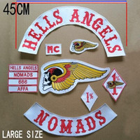 Wholesale Large Size cm Wide HELLS ANGELS Embroidered Iron On Patch Jacket and Vest Motorcycle Biker MC Patches