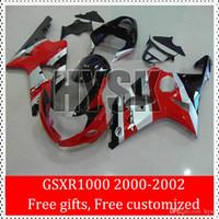 Sportbike carenados De Suzuki Negro Plata Rojo 00 01 02 GSXR1000 GSX-R1000 del carenado del ABS Kits GSXR 1000 2000 2001 2002 K2 Racing Body Work