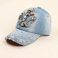 ab baseball - 2016 New Hot sale Summer style AB rhinestone cowboy baseball axe point drill baseball cap for women High quality New Retail