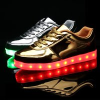 b mirror - Mirror Led Light up Shoes for Big Kids and Adults Casual Glow Shoes with Lights Led Sneakers Gold and Silver
