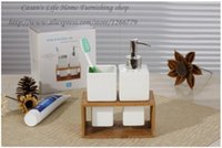 bamboo bathroom products - Hot new products modern minimalist style of high grade ceramic bamboo rack two piece of bathroom sets emulsion bottle mouth cup