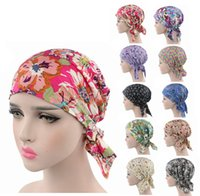 bandit hat - New women Cotton head wrap various printing Design Pre Tied Fitted Bandana Head Scarf turban bandit cap