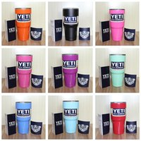 Wholesale 9 Colors oz YETI Rambler Tumbler Cup Coolers Bilayer Vacuum Insulation Cup Yeti Tumbler Mug Stainless Steel Cup