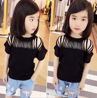 Cheap New Arrivel Baby Girls Black T-shirt Kids Hollow Out Short Sleeve Tops Tee Children Cute Cotton T Shirt Child Clothing
