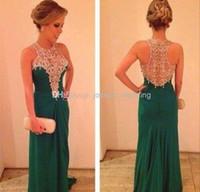 beautiful emerald - 2016 Emerald Green Prom Dresses Beautiful Long Beaded Women Gowns WH474 Vestidos de Noiva natural waistline