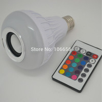 Wholesale Multicolor RF wireless IR remote RGBW RGB Bluetooth Control Music Audio Speaker LED Color Bulb Light Lamp White E27