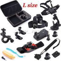 Wholesale 13 in Kit Big Size Box Sports Camera Accessories Gopro SJCAM Chest Head Belt Strap Shockproof Action Camera Accessories