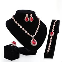 acrylic heart ornaments - 2016 new hot European and American fashion droplets gold plated necklace earrings four piece ornaments jewelry