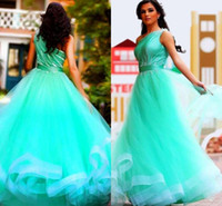 Cheap 2016 Aqua Blue Arabic Prom Dresses One Shoulder Beaded A Line Floor Length Modest Dubai Evening Party Pageant Gowns For Woman Cheap Custom