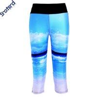 beautiful capri - S T Coast Women Leggings Beautiful Sea Digital Printed Capri Pants Running Fitness Pants Cropped Deportiva Leggings Slim Pants