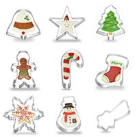 Wholesale 9pcs set Festival Christmas cookies stainless steel mold gingerbread man cane Christmas tree biscuit cutter