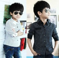 Wholesale 2016 Autumn winter Boys Formal Plain Long Sleeved Shirt Party Polka Dot Shirts Years
