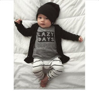 Wholesale New Baby Boys Clothing Set Cotton Outfit Long Sleeves Letter Printed T Shirt with Striped Pants Children Clothes