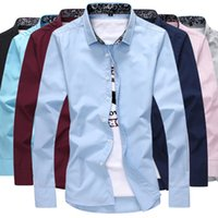 Wholesale Fall men s large yards long sleeved shirt self cultivation leisure shirts M XL