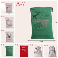 Wholesale 2016 newest styles Christmas Large Canvas Monogrammable Santa Claus Drawstring Bag With Reindeers Monogramable Christmas Gifts Sack Bags