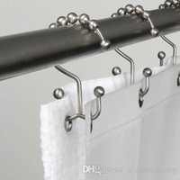 Wholesale Shower Curtain Ring Double Glide Hooks Set Stainless Steel Bathroom Roller Heavy