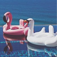 babies bath seats - 2016 Summer Baby Pink Flamingo Swimming Ring Inflatable White Swan Swim Float Water Fun Pool Toys Swim Ring Seat Boat Kids Swimming