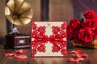 Wholesale Laser Cut Wedding Invitations red Free Printing Wedding Invitation Card Flowers Hollow Wedding Cards two colour red and white lace