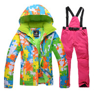 Wholesale free shopping fashion winter women s ski suit sets waterproof snowboard clothes thicken breathable skiing jacket and