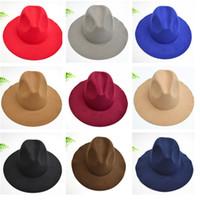 Wholesale Women Top Hats Hat Dome Imitation Wool Brim Hats Ladies Round Wave Brim Hat Womens Hat colors