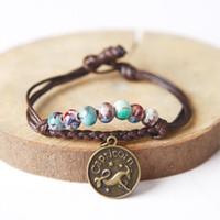 bars glaze - Brown Rope Constellation Pendant Charm Bracelets Fashion Glaze Ceramic Bead Bracelet Bangle For Women Fashion Jewelry