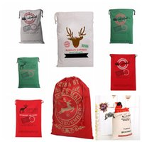 Wholesale Christmas Large Canvas Christmas Gifts bags Christmas Santa Claus Reindeers Drawstring Bag Sack Bags cm design KKA747