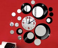 Wholesale diy mirror wall clock bell circle composition decorative acrylic wall clock Creative Arts