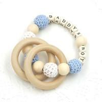 Wholesale Baby Crochet Wooden Beads Ring Nursing Toy Daddy s Boy Baby Teether crochet knit ball bracelet safe to chew TT007