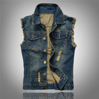 Wholesale Fashion Vintage Men Washed Worn Hole Slim Demin Jean Vests Men jean Coat Outwear Autmn Clothes Plus Size S XL