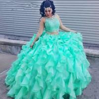 aqua pieces - Custom Made Masquerade Ball Gowns Beaded Crew Neckline Crop Top Ruffles Puffy Skirt Aqua Green Organza Quinceanera Piece Prom Dresses