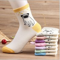 Wholesale pairs hot Lovey pug dog cotton middle socks for women wear manufacturer calcetines