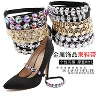 Cheap 2pairs Sexy Rhinestone Shoes Accessories Elastic Cross Strap Elastic Bands for High Heels Dancing Shoes Safety Bands shoelaces