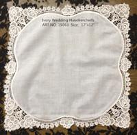 american handkerchief - HomeTextile American style Ivory Wedding Handkerchief quot x12 quot Color Ivory cotton lace edging Ladies handkerchief for the bride
