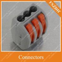 al por mayor cableado de conexión rápida-Conector de abrazadera de conexión rápida del cable de alambre Bloque de terminales de cable de 24 A (abrazadera de empuje de 3 clavijas sin soldadura) Rango: 0.08-4mm Conectores cuadrados (28-12AWG)