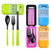Wholesale Outdoor Travel Picnic Protable Tableware Eco friendly ABS Tableware Chopsticks Spoon Fork Storage Box portable knife and fork set
