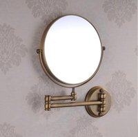 Wholesale Antique Brass Inch Double Side Bathroom Folding Shave Makeup Mirror Wall Mounted with Arm x3 Magnifying F
