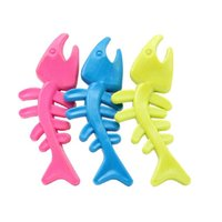 Wholesale Resistant Bite TPR Pet Dog Chew Toys Colorful Fish Bone Chew Toy for Puppy Dog Cat WA0780