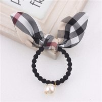 Wholesale 20pcs Plaid Bunny Ear Hair Rubber Bands With Big Pearl Checked Rabbit Ear Elatic Hair Ties For Girls