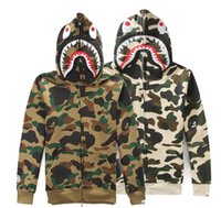 Wholesale 2016 High quality Men s full zipper shark hoodie camouflage Army Military fleece hoodies and sweatshirts winter mens camo jacket