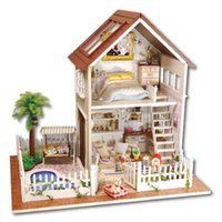 dollhouse furniture - 2016 New Wooden Dollhouse Furniture Kids Toys Handmade Gift Diy Doll House Kits With LED Stuff Home Decor Craft Doll Houses Miniature A025