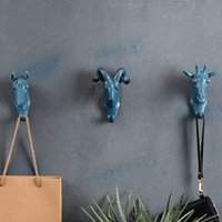 art hanging hooks - 4PCS SET Rhino Elephant Giraffe Horse Animal Decorative Hook Creative Resin Model Bathroom Wall Hook Coat Hook Wall Hanging Hook