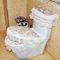 beautiful radiators - 1set Voile Lace Set of Bathroom Shower Sets Vintage Radiator Cap Beautiful Toilet Lid Cover