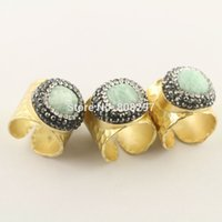 amazon gems - 5Pcs Nature Amazon Rings Gold Plated Metal Brass Druzy Ring Fashion Gem stone Jewelry Finger Rings