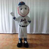 baseball globe - Light White Baseball Tennis Tenis Ball Mascot Costume Sports With White Sports Wear Globe Nose Blue Sleeves Smile