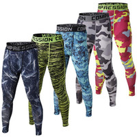basketball trousers - Camo Mens Compression Pants Sports Running Tights Skinny Basketball Running Base Layer Fitness Joggers Leggings Trousers