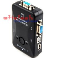 Wholesale 20 pieces New USB KVM Switch Switcher Port VGA SVGA Switch Box USB Mouse Keyboard