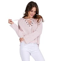 Wholesale Autumn Pink Flare Sleeve Knitted Sweaters Women Sexy Lace up V neck Pullover Jumpers Casual Loose Split Knitwear Cashmere FS0742
