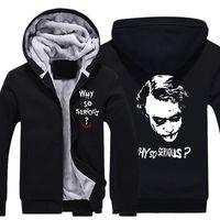 batman fleece - Mens Casual Batman Joker Jack Napier Why so serious Hoodies Zip Up Winter Fleece Super Warm Sweatshirts Coat Size M XL