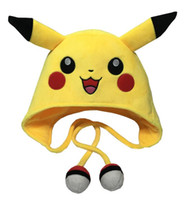 Wholesale Pikachu Hats Pikachu Cosplay Hats cm Poke Center Pikachu Pokeball Plush Hats Winter Plush Hats HIgh Quality D696